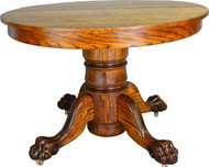 SOLD Antique Claw Foot Round Oak Dining Table
