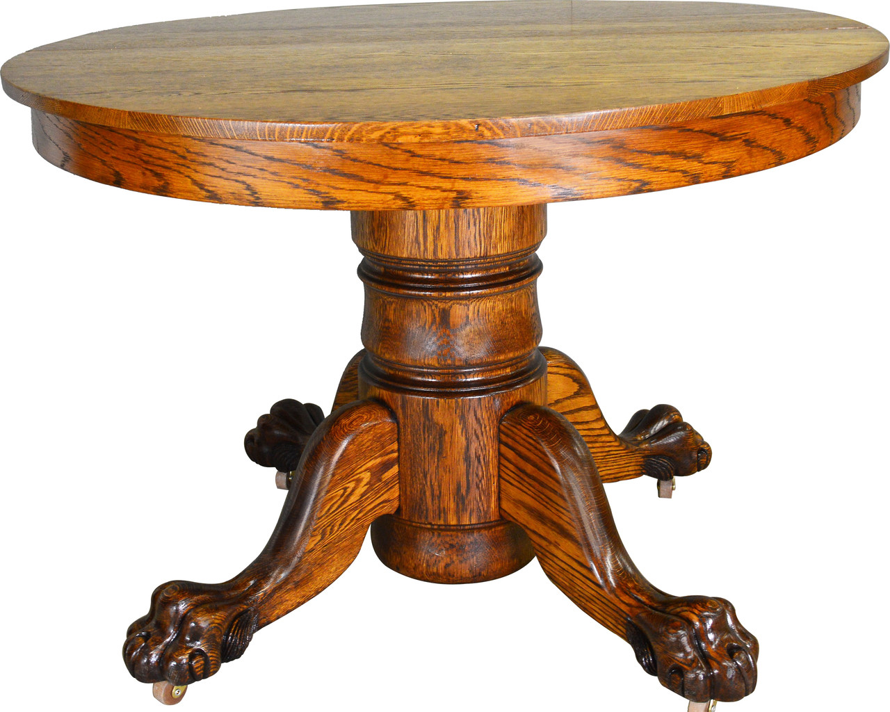 Sold Antique Claw Foot Round Oak Dining Table Maine Antique Furniture