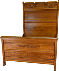 17353 Victorian Carved Raised Panel Oak Bed