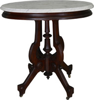 SOLD Victorian Oval Marble Top Walnut Parlor Stand