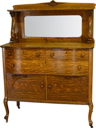 17556 Oak Lion Head Bevel Mirror Sideboard