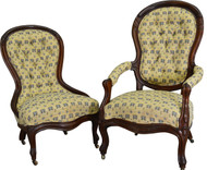 17567 Pair of Victorian Carved Chairs Ladies and Gentleman's