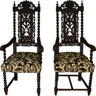 SOLD Two High Carved Oak Lion Headed Master Chairs