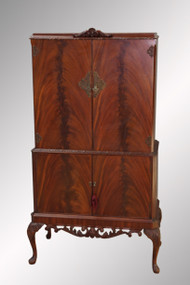 SOLD Antique Flame Mahogany Carved Bar