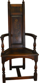 SOLD Walnut Decorated Throne Chair by Kittinger