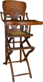 SOLD Victorian Press Back Oak Children's Up and Down High Chair Stroller