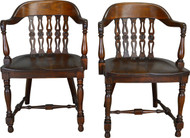 17410 Pair of Walnut Lawyers Bankers Arm Chairs