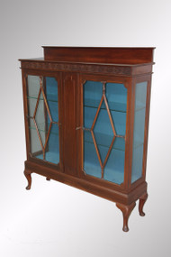 SOLD Antique Mahogany Chippendale Carved Two-door China Cabinet