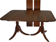 17474 Mahogany Duncan Phyfe Dining Table Carved Base 2 Leaves