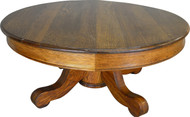 "SOLD Victorian Oak Custom Coffee Table 42"" Round"