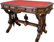17569 Victorian Burl Walnut Library Writing Desk – Civil War Era