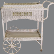 17493 Antique Wicker Tea Cart with Removable Tray – Rare