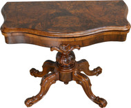 17431 Victorian Burl Walnut Heavily Carved Game Table