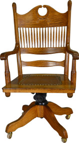 SOLD Victorian Carved Oak Bowtie Lawyers Bankers Office Swivel Chair