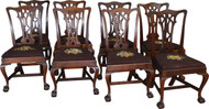 17586 Set of 8 Centennial Hand Bench Made Mahogany Chippendale Dining Chairs