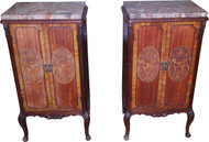 18280 Pair of Marble Top French Inlaid End Tables