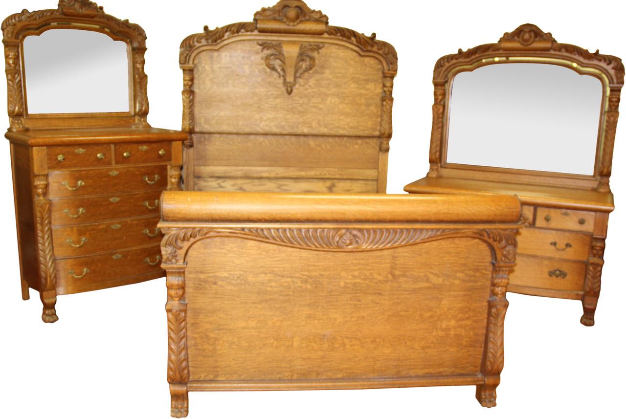 18291 Victorian Horner Style Oak Bedroom Suite Maine Antique Furniture