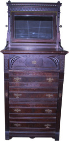 SOLD Victorian Walnut Lock Side Chest with Butlers Desk & Bevel Mirror