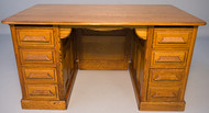 SOLD Antique Oak Raised Panel Flat Top Desk