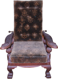 SOLD Oak Carved Claw Foot Morris Chair