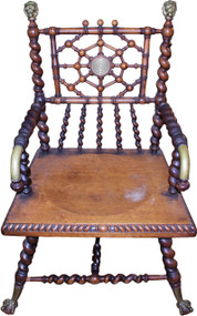 SOLD Merklen Mahogany Barley Twist Arm Chair