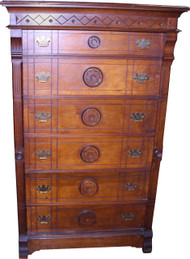 18297 Victorian Carved 6 Drawer Lock Side Gentleman's Chest