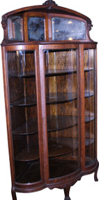 SOLD Victorian Oak Triple Curved Glass Corner China Closet