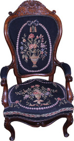 SOLD Victorian Needlepoint Gentleman's Chair - Civil War Era