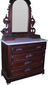 18296 Marble Top Chest with Mirror – Civil War Era
