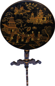 SOLD Chinese Decorated Tilt Top Parlor Stand