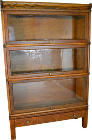 SOLD Oak Three Section Bookcase with Drawer