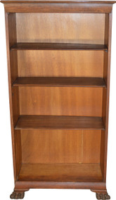 SOLD Oak Claw Foot Open Bookcase Multi-Shelf