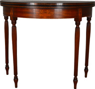 17568 Mahogany Formal Sheraton Inlaid Game Table