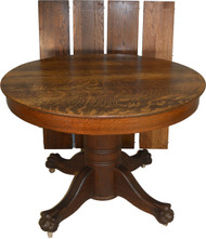 SOLD Victorian Round Claw Foot Split Base Dining Table – 44 Inches