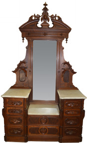 SOLD Victorian Monumental Marble Top Dresser