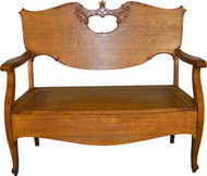 SOLD Victorian Oak Carved Hall Bench