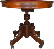 17628 Victorian Unusual Burl Walnut Poker Table