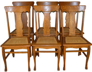 17656 Set of 6 Oak Claw Foot Dining Chairs