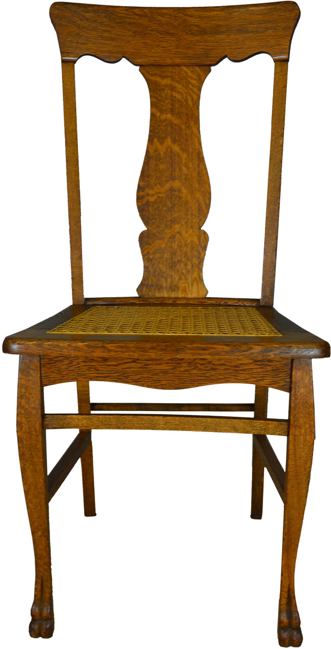 Sold Set Of 6 Oak Claw Foot Dining Chairs Maine Antique Furniture