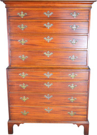 SOLD Mahogany Chippendale Two Piece Bracket Foot Chest on Chest