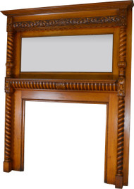 SOLD Victorian Carved Barley Twist Fireplace Mantle with Bevel Mirror