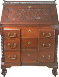 SOLD Victorian Custom Carved Slant Top Desk