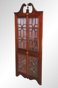 SOLD Antique Mahogany Inlaid Custom Corner China Closet