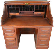 17594 Mahogany Raised Panel Roll Top Desk Carved Pulls