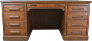 SOLD Victorian Oak 66 Inch Flat Top Desk with Carved Pulls