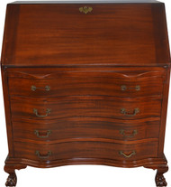 SOLD Mahogany Ox Bow Ball and Claw Slant Top Desk