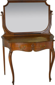 SOLD Victorian Oak Bevel Glass Shapely Ladies Vanity