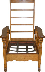 17664 Oak Carved Morris Chair with Lion Heads for Arms