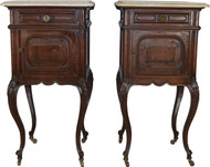 SOLD Pair of Marble Top French Nightstands