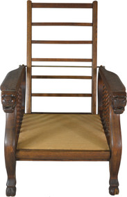 17666 Oak Claw Foot Lion Head Morris Chair